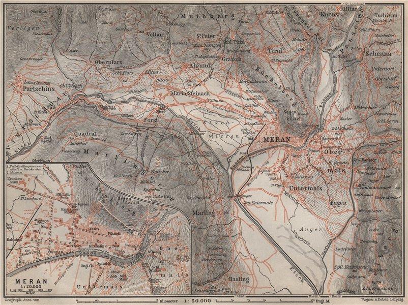 Associate Product MERANO / MERAN environs Scena Plars di Sopra Marlengo Lagundo Parcines 1905 map