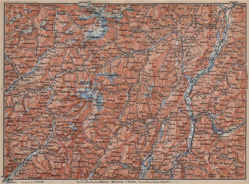 Associate Product TRENTINO-ALTO ADIGE. Bolzano Bormio S. Caterina Aprica Campiglio mappa 1905