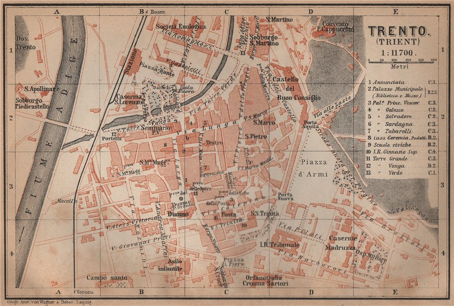 Associate Product TRENTO (TRIENT) town city plan piano urbanistico. Italy Italia mappa 1905