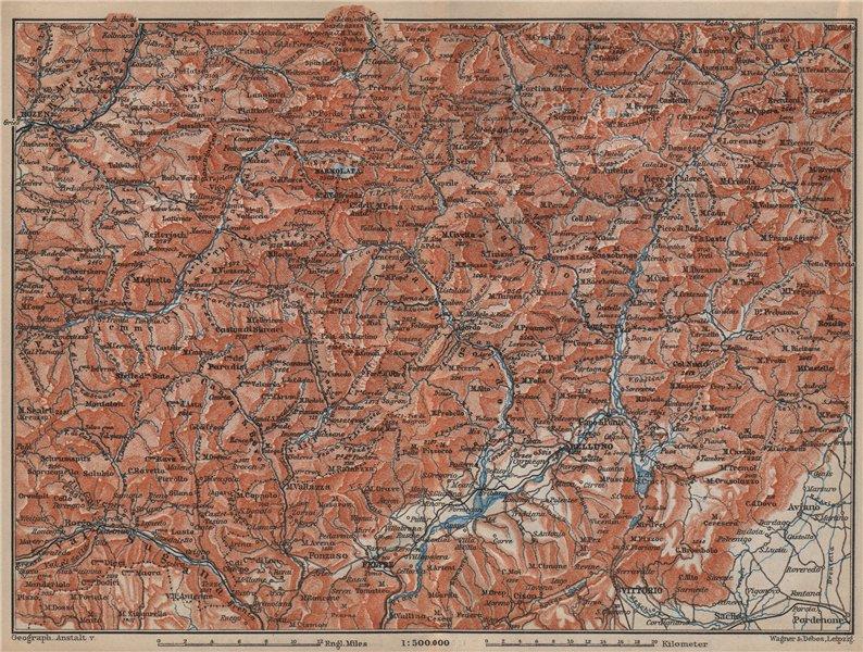 Associate Product DOLOMITE ALPS DOLOMITI Bolzano Belluno Val Gardena Cortina d'Ampezzo 1905 map