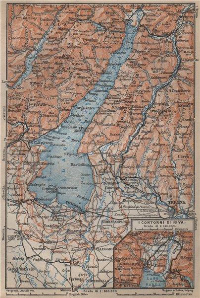 Associate Product LAGO DI/LAKE GARDA. Riva Salo Peschiera Verona. topo-map. Italy mappa 1905