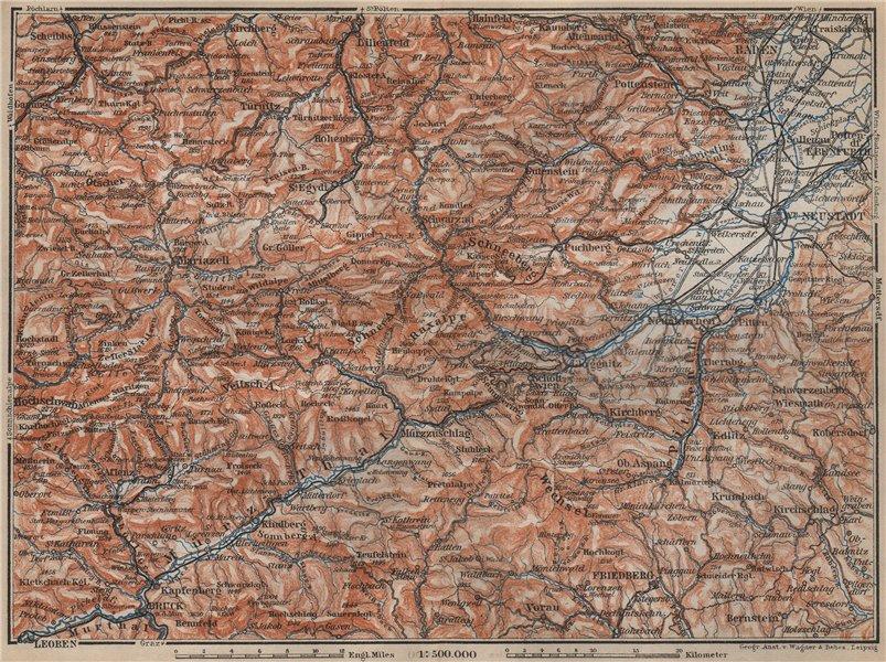Associate Product SEMMERING & MARIAZELL environs. Mürztal Styria Baden bei Wien Austria 1905 map