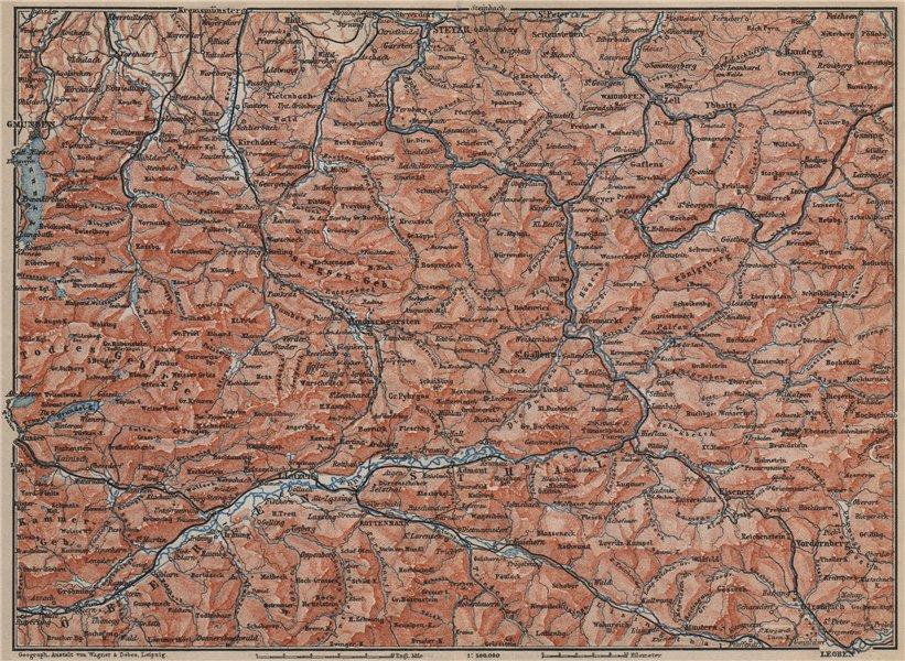 Associate Product STYRIAN & AUSTRIAN ALPS. ENNSTAL. Bad Aussee Liezen Steyr. Austria 1905 map