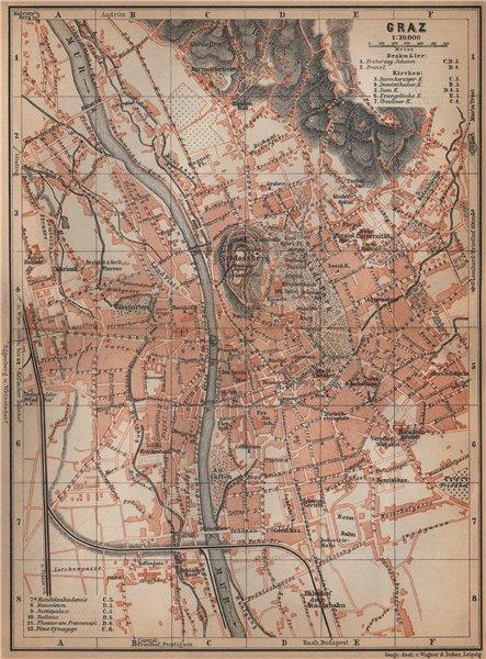 Associate Product GRAZ (GRATZ) town city plan stadtplan. Austria Österreich karte 1905 old map