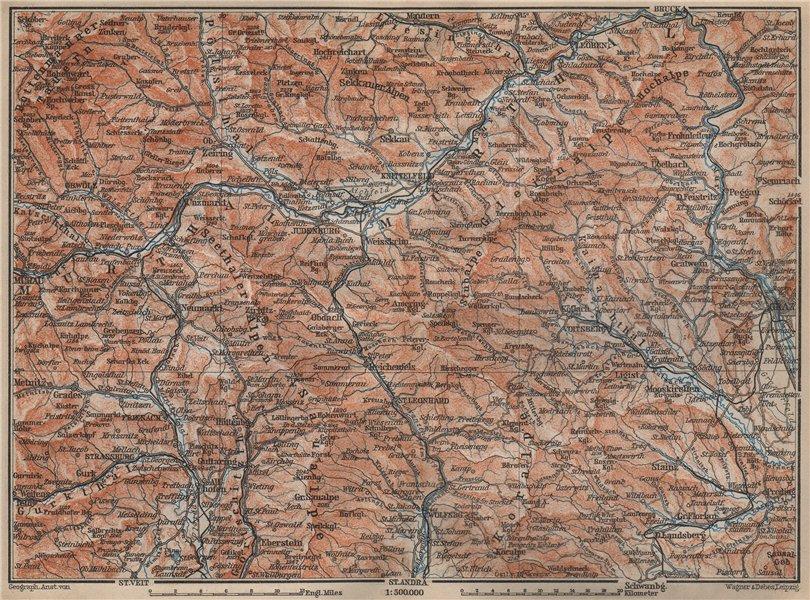 Associate Product STYRIAN & CARINTHIAN ALPS. Murau Graz Murtal Leoben Wolfsburg. Austria 1905 map