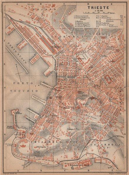TRIESTE / TRST town city plan piano urbanistico. Italy Italia mappa 1905