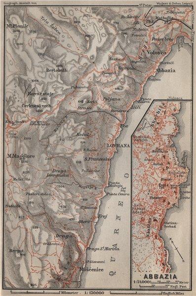 Associate Product OPATIJA (SANKT JAKOBI, ABBAZIA) environs. Lovran Moscenicka. Croatia 1905 map