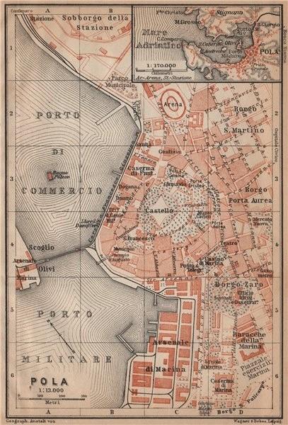 Associate Product POLA (PULA / POLEI) antique town city plan grada. Croatia karta 1905 old map