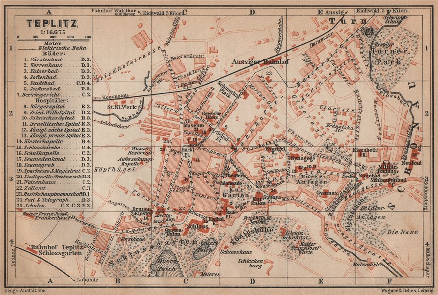 Associate Product TEPLICE / Teplitz-Schönau town city plan mesta. Czech Republic mapa 1905