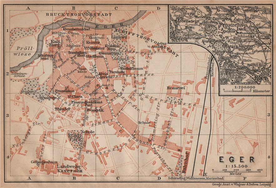 Eger Antique Town City Plan Erlau Jagier Jager Hungary Terkep