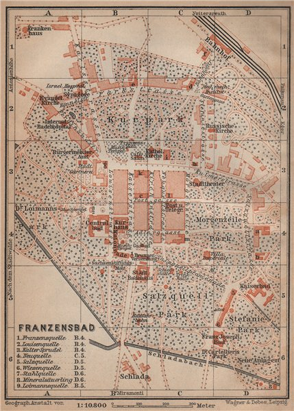 Associate Product FRANTISKOVY LAZNE (FRANZENSBAD) town city plan mesta. Czech Republic 1905 map