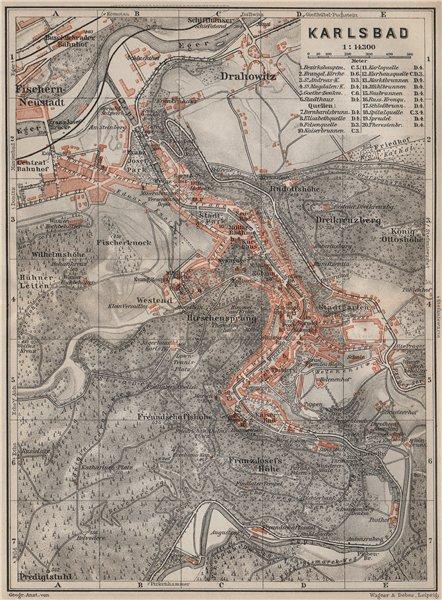 Associate Product KARLOVY VARY town city plan mesta. Carlsbad Karlsbad. Czech Republic 1905 map