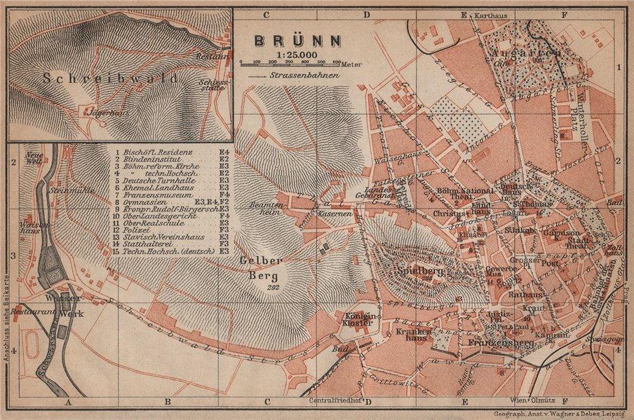 Associate Product BRNO (BRUNN BRÜNN) antique town city plan mesta. Czech Republic mapa 1905