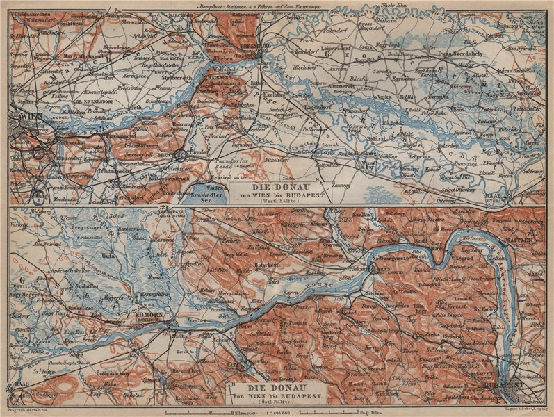Associate Product DANUBE DONAU RIVER. Vienna/Wien-Bratislava-Estergom-Vac-Budapest karte 1905 map