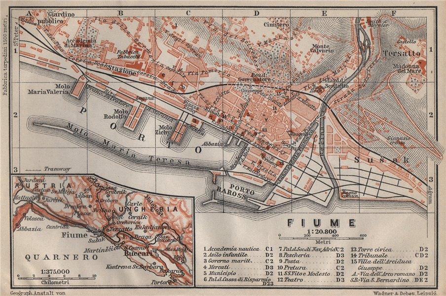 Associate Product RIJEKA antique town city plan grada. Fiume Reka Pflaum. Croatia karta 1905 map