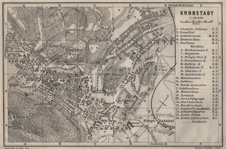 Associate Product BRASOV (KRONSTADT) town city planul orasului. Brasso. Romania harta 1905 map