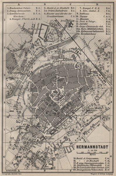 Associate Product SIBIU (HERMANNSTADT) antique town city planul orasului. Romania harta 1905 map