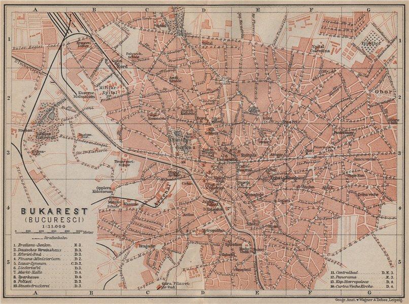 Associate Product BUCHAREST / BUCURESTI antique town city planul orasului. Romania harta 1905 map