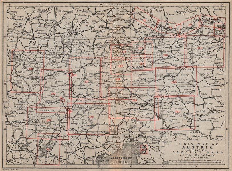 Associate Product AUSTRIA. Austrian Empire. Index map karte. BAEDEKER 1905 old antique chart