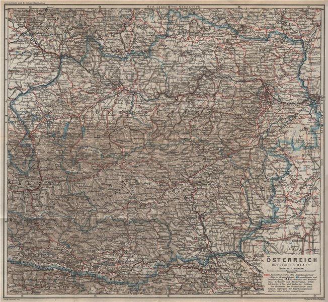 Associate Product ÖSTERREICH Östliches blatt. AUSTRIA East sheet. Railways karte 1929 old map