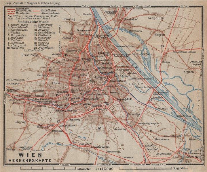 Associate Product VIENNA Railway map. WIEN Verkehrskarte. City plan. Austria Österreich 1929