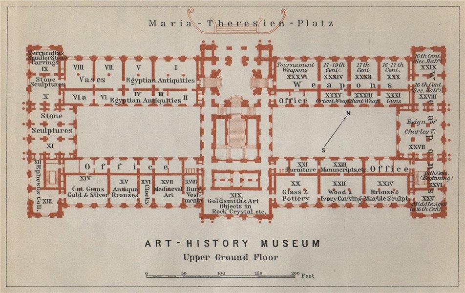 Associate Product Kunsthistorisches/Art History Museum Wien Vienna. Floor plan. SMALL 1929 map