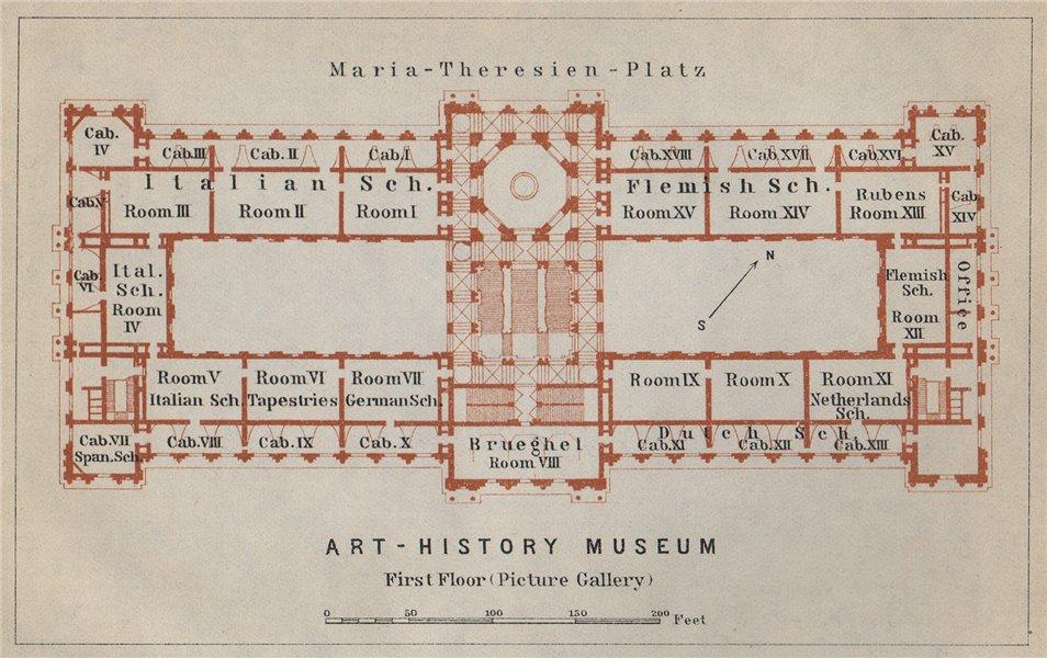 Associate Product Kunsthistorisches/Art History Museum Wien Vienna. First floor plan 1929 map