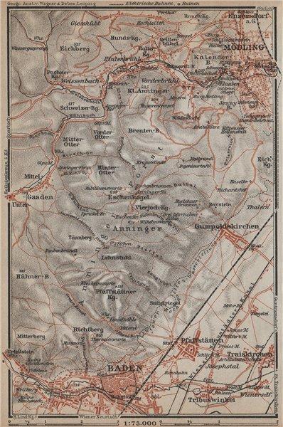 Associate Product MODLING & BADEN BEI WIEN area. Pfafstatten Hinterbruhl Gumpoldskirchen 1929 map