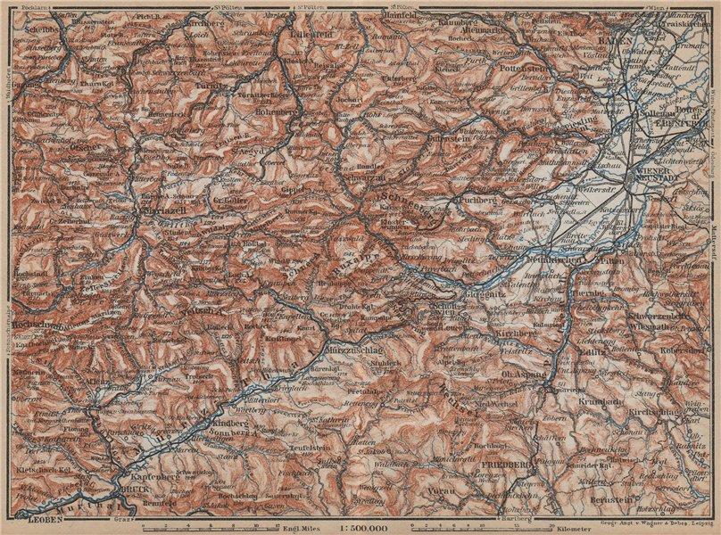 Associate Product SEMMERING & MARIAZELL environs. Mürztal Styria Baden bei Wien Austria 1929 map