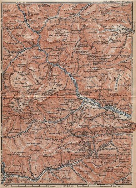 Associate Product LOWER AUSTRIA. Schwarza (Leitha) river. Semmering Schneeberg Raxalpe 1929 map
