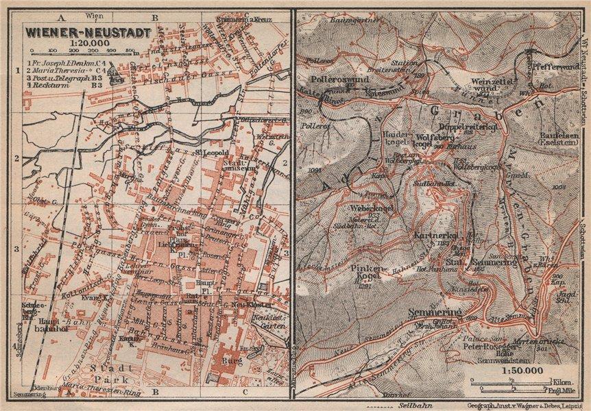 Associate Product WIENER-NEUSTADT town stadt plan. SEMMERING environs.Austria Österreich 1929 map