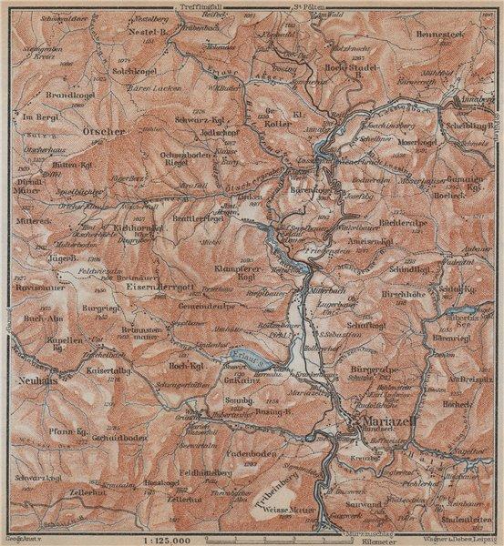 MARIAZELL & ÖTSCHER. Salza. North Styrian Alps. Topo-map. Austria 1929 old