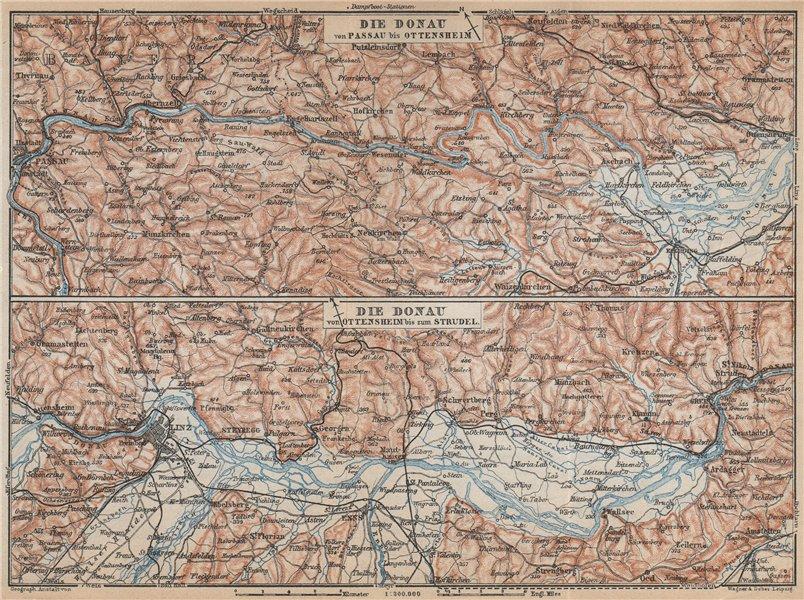 Associate Product DANUBE DONAU RIVER. Passau-Ottensheim-Linz-Enns-Grein. Austria karte 1929 map