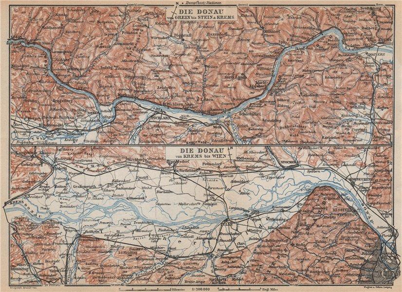 Associate Product DANUBE DONAU RIVER. Grein-Ybbs-Pochlarn-Melk-Spitz-Krems. Austria 1929 old map