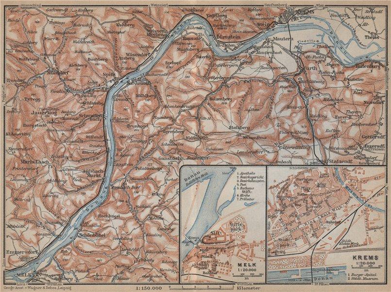 Associate Product DANUBE from MELK to KREMS an der DONAU. town stadtplan. Österreich 1929 map
