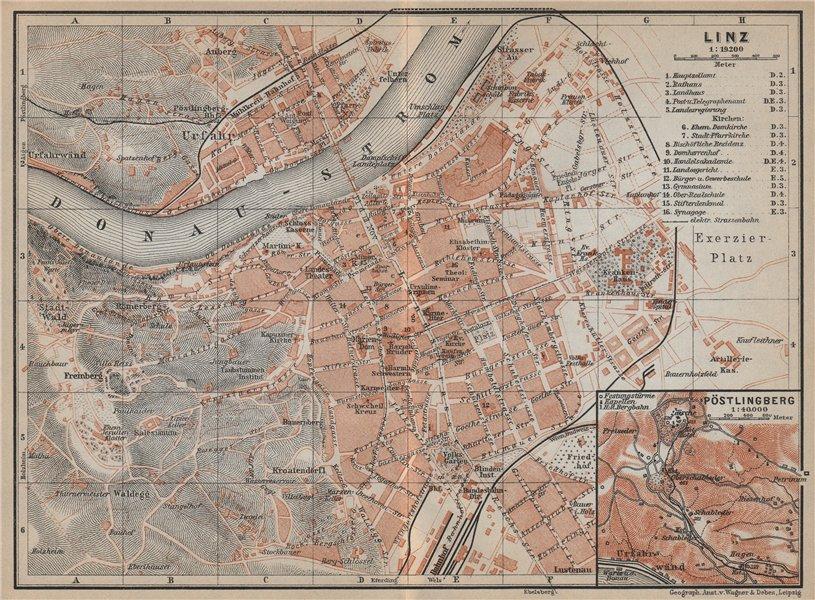 LINZ vintage town city plan stadtplan. Austria Österreich karte 1929 old map