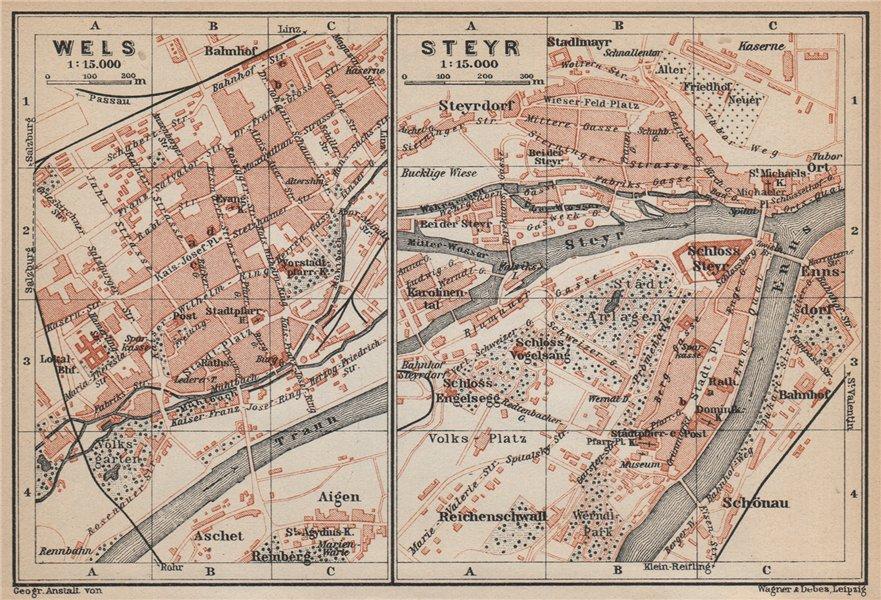 WELS & STEYR town city plans stadtplan. Austria Österreich karte 1929 old map