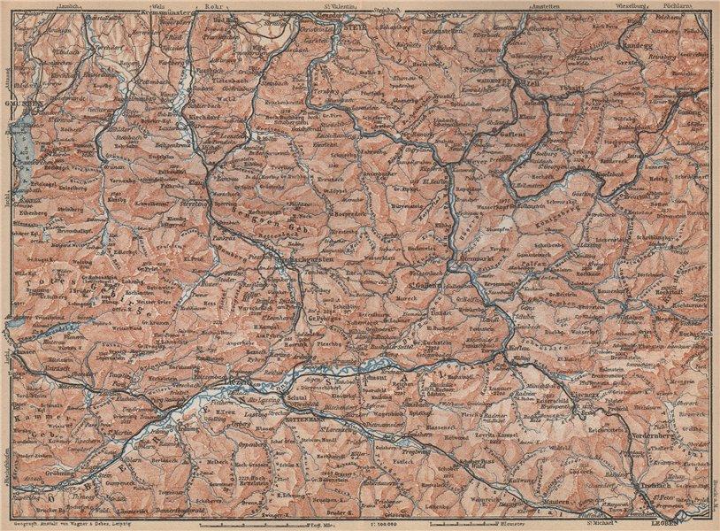 Associate Product STYRIAN & AUSTRIAN ALPS. ENNSTAL. Bad Aussee Liezen Steyr. Austria 1929 map