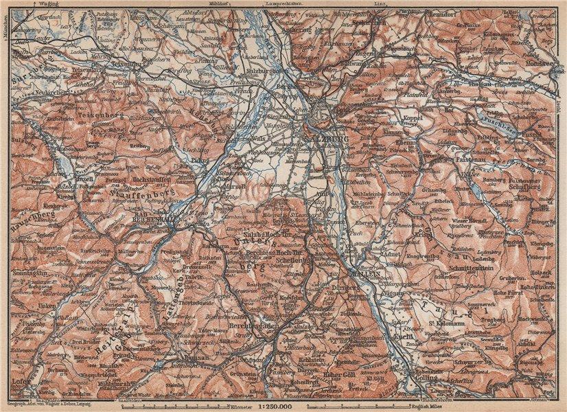 Associate Product SALZBURG environs. Berchtesgaden Faistenau Seekirchen Reichenhall 1929 old map