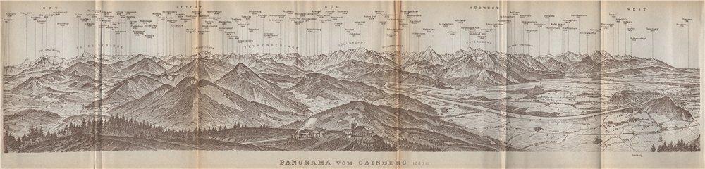 Associate Product PANORAMA VOM GAISBERG. Salzburg. Salzach valley. Austria Österreich 1929 map