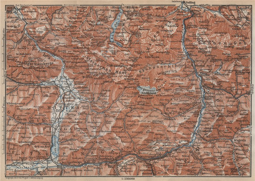 Associate Product KONIGSSEE & ENVIRONS. Saalfelden Tazenbach Golling Zel-am-See Wagrain 1929 map