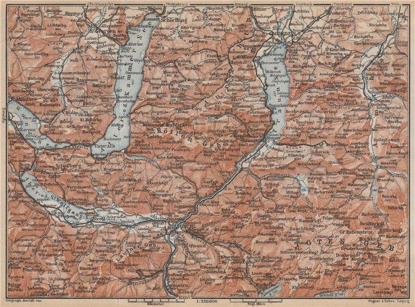 Associate Product NORTH SALZKAMMERGUT. Gmunden Ischl Hallstatt. Altmunster Ebensee karte 1929 map