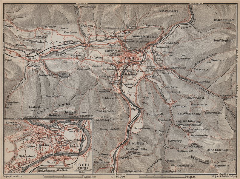 Associate Product BAD ISCHL vintage town city plan stadtplan. Austria Österreich karte 1929 map