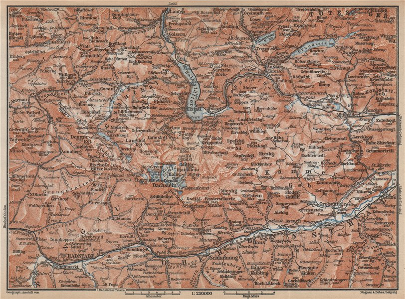 Associate Product SOUTH SALZKAMMERGUT. Bad Aussee Dachstein Schladming Mitterndorf karte 1929 map