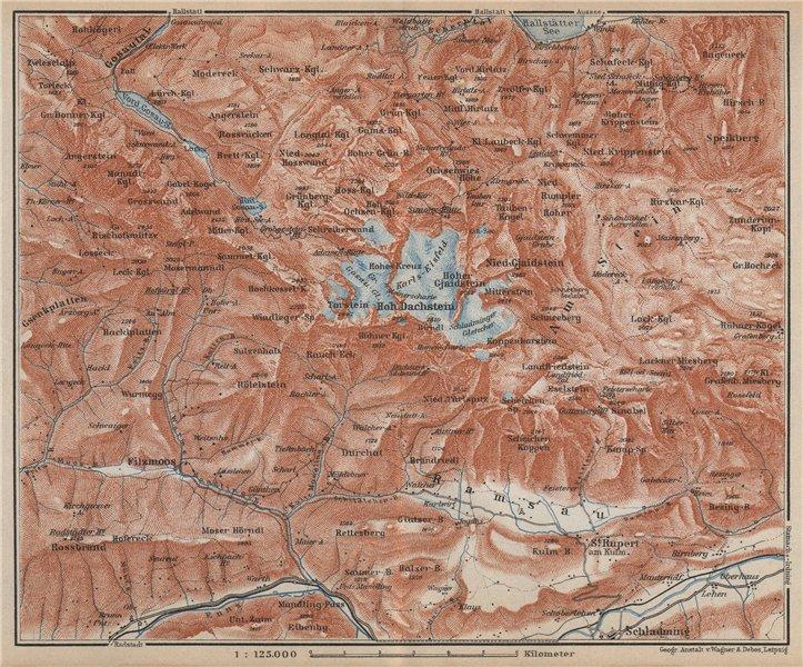 Associate Product HOHER DACHSTEIN. Schladming Filzmoos Vorderer Gosausee Topo-map karte 1929
