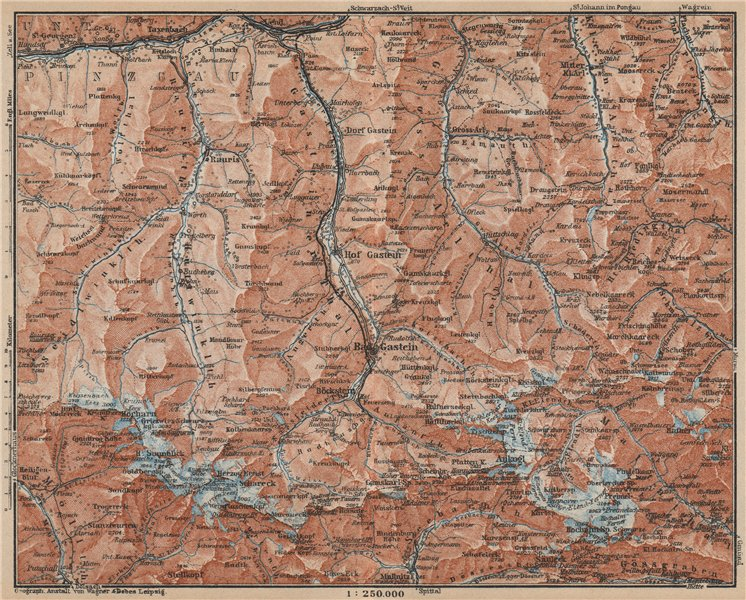 Associate Product HOHE TAUERN & GASTEINER TAL Ankogelgruppe Goldberggruppe Bad Gastein 1929 map
