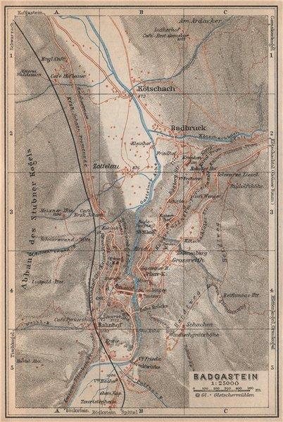 Associate Product WILDBAD/BAD GASTEIN town plan stadtplan & environs. Austria Österreich 1929 map