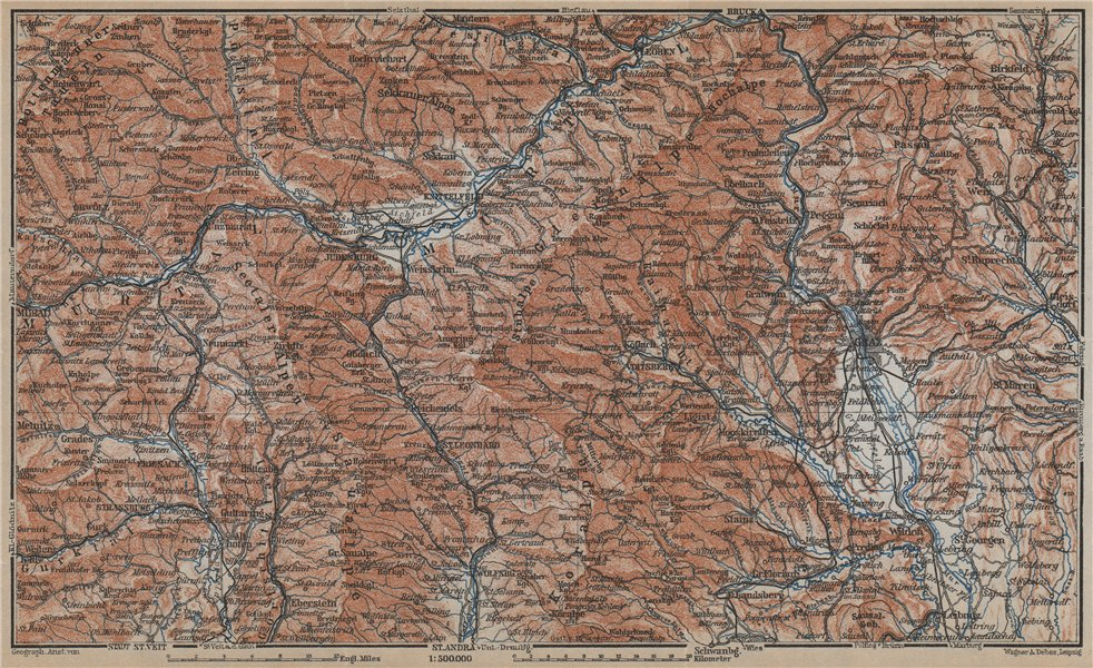 Associate Product STYRIAN & CARINTHIAN ALPS. Murau Graz Murtal Leoben Wolfsburg. Austria 1929 map