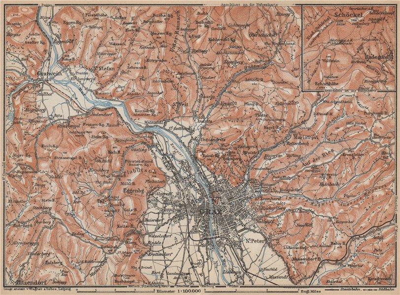 Associate Product GRAZ environs. Gratwein. Hitzendorf. Austria Österreich karte 1929 old map