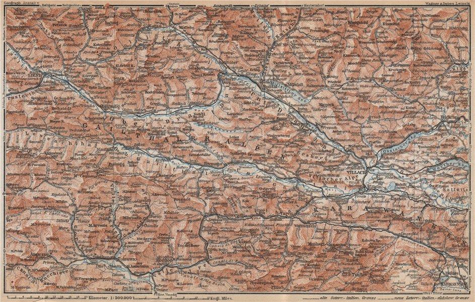 Associate Product CARINTHIAN ALPS Lienz Villach Triglav Lake Bled Austria Italy Slovenia 1929 map